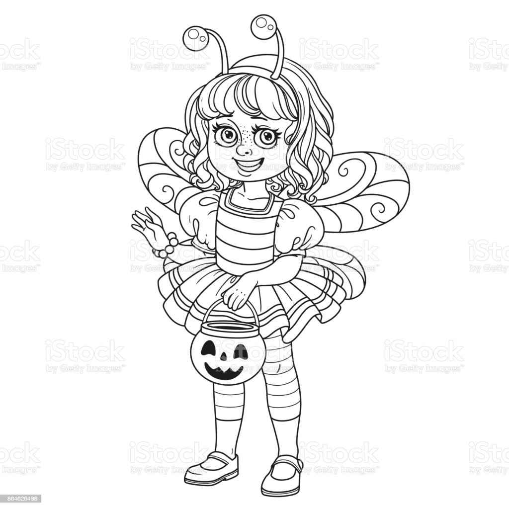 Cute Girl In Bee Costume Holding A Pumpkin Bag For Sweets Trick Or ...