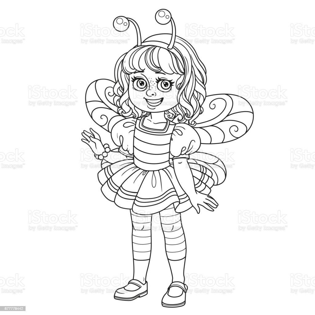 Linda Chica En Traje De La Abeja Para Colorear Página Illustracion ...