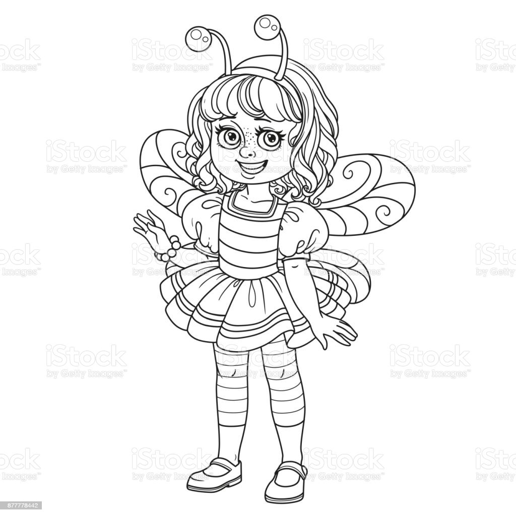 Cute girl in bee costume outlined for coloring page vector art illustration