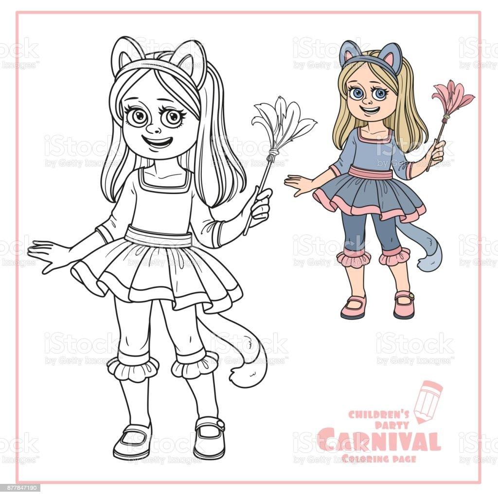Niedliche Mädchen In Katze Kostüm Farbe Und Skizziert Für ...