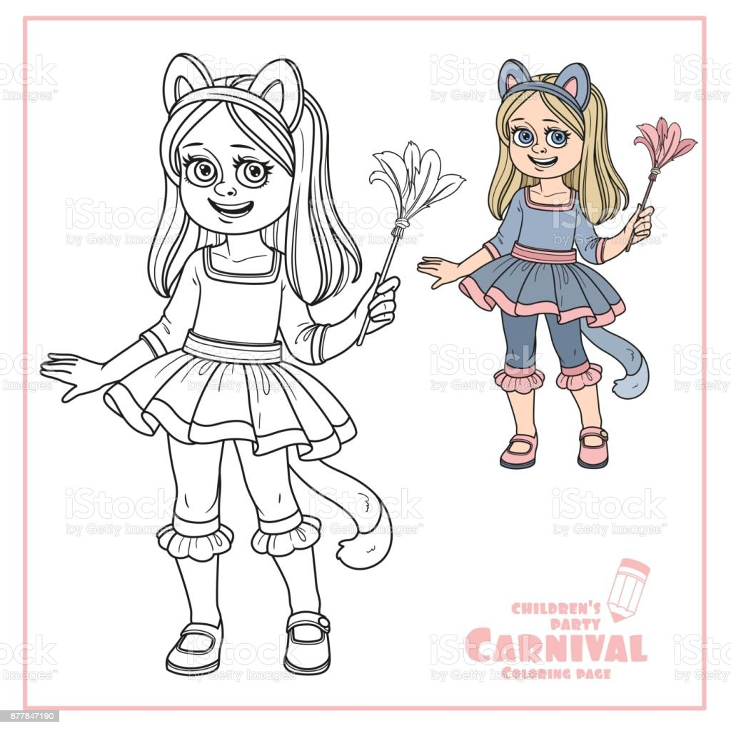 Cute girl in cat costume color and outlined for coloring page vector art illustration