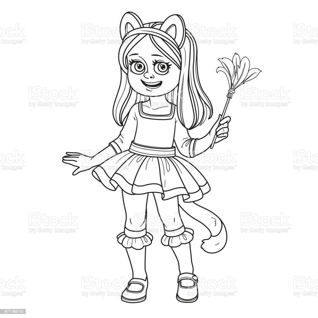 Ilustración de Linda Chica En Traje De Gato Para Colorear Página y ...