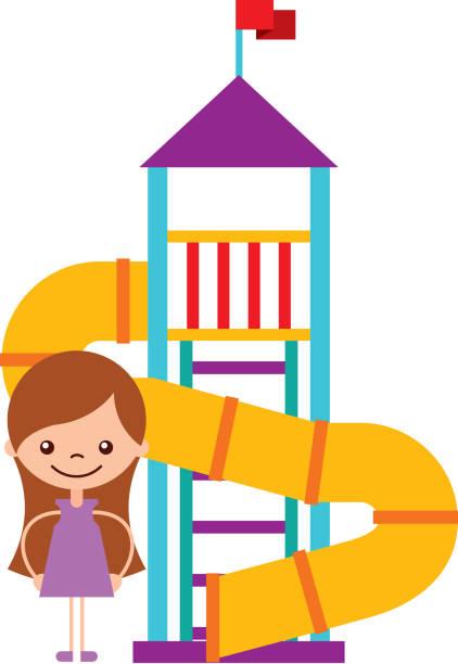 stockillustraties, clipart, cartoons en iconen met schattig meisje in kinderachtige spelletjes karakter pictogram - mini amusementpark