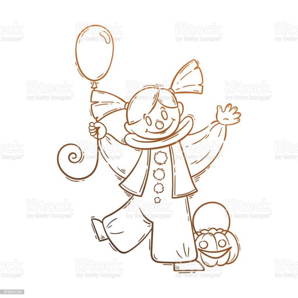 Cute Girl In Costume Of Scary Clown With Balloon Stock Vector Art ...