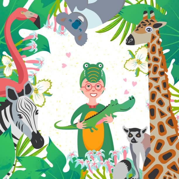 nettes mädchen im kostüm des dinosauriers mit verschiedenen tieren. ein lustiger charakter mit krokodil-spielzeug in der hand mit giraffe, koala, flamingo, zebra, lemur. - giraffenkostüm stock-grafiken, -clipart, -cartoons und -symbole