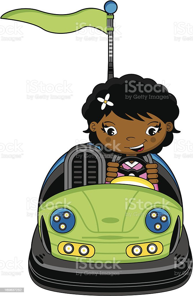 Linda chica en Dodgem autos de choques - ilustración de arte vectorial