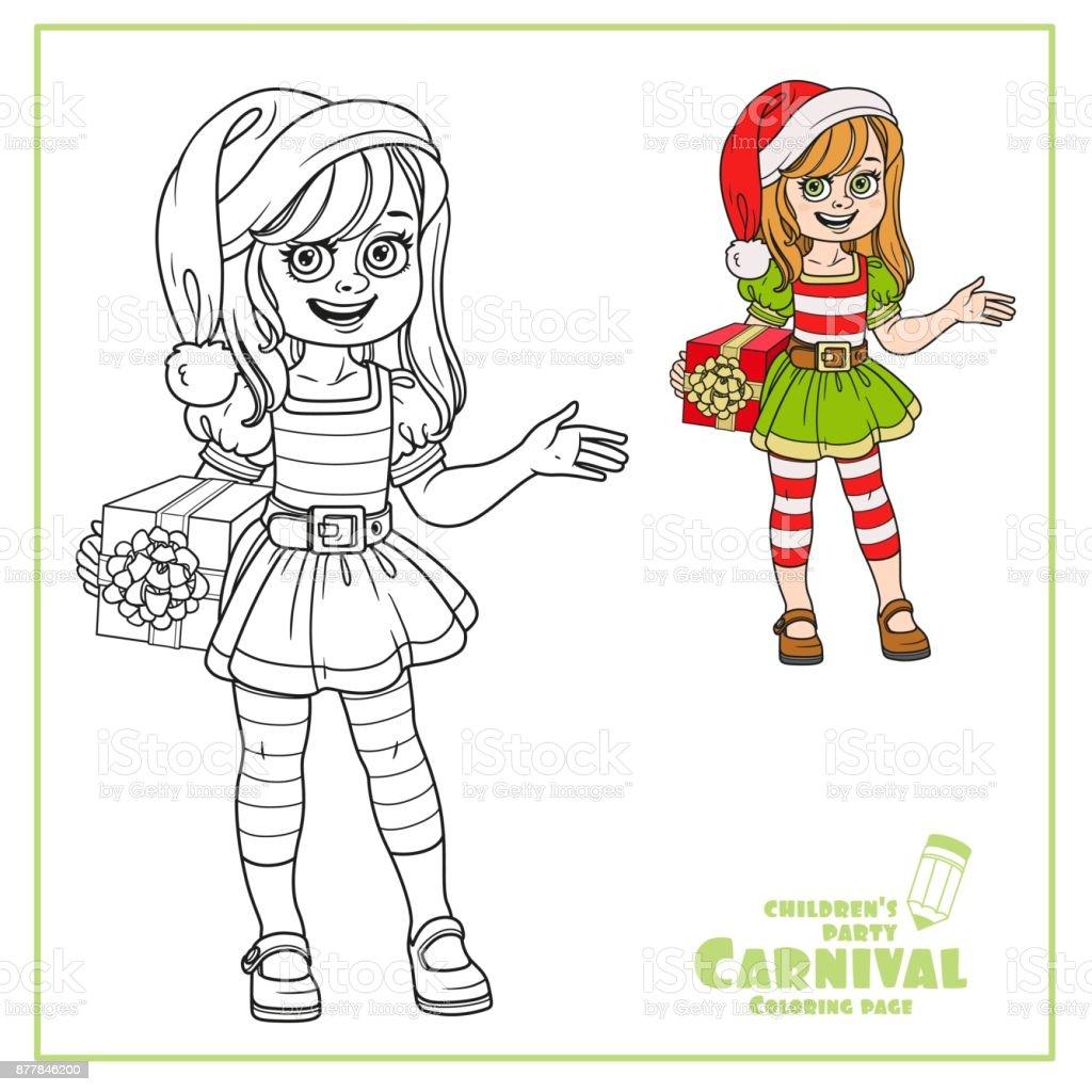Niedliche Mädchen Im Assistenten Elf Santa Kostüm Farbe Und ...