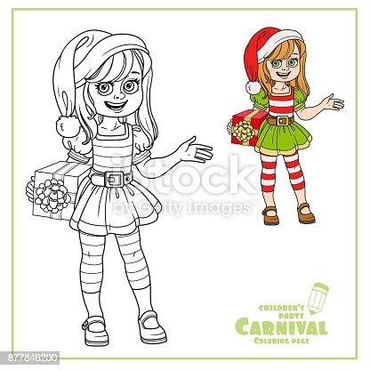 Ilustración de Linda Chica En Ayudante Duende Santa Claus Traje ...