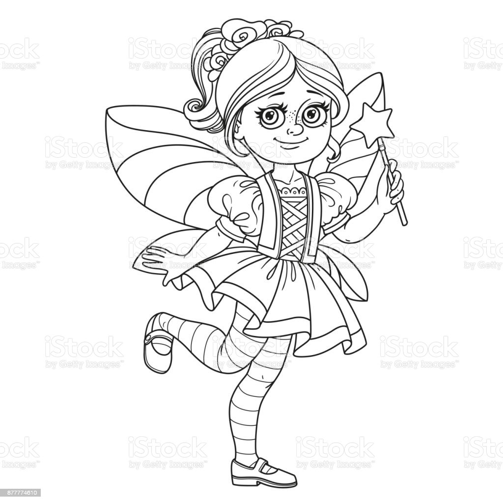Cute girl in fairy costume outlined for coloring page vector art illustration