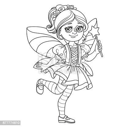 schattig meisje in fee kostuum geschetst voor de