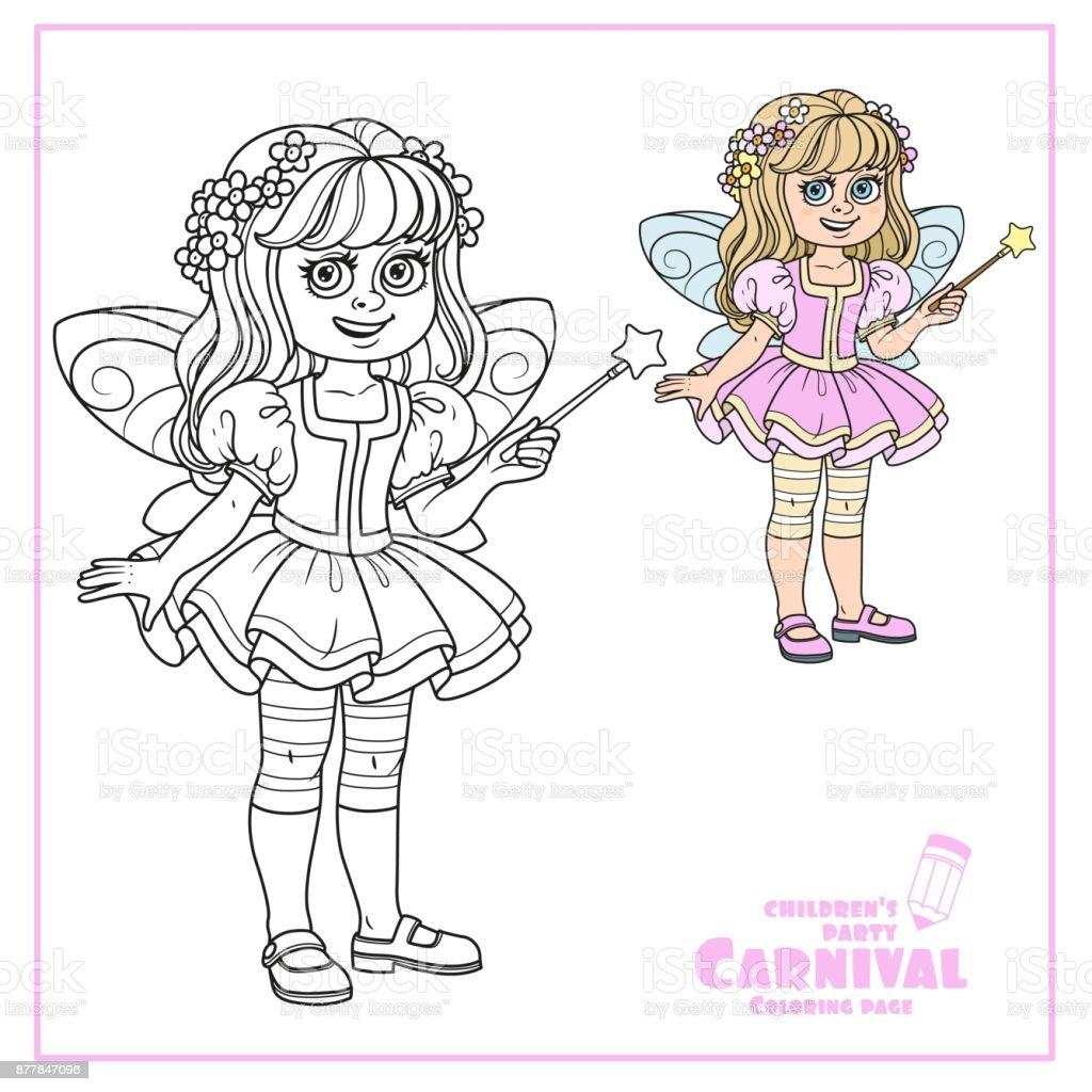 Süße Mädchen Im Märchen Kostüm Mit Einem Zauberstab Farbe Und ...