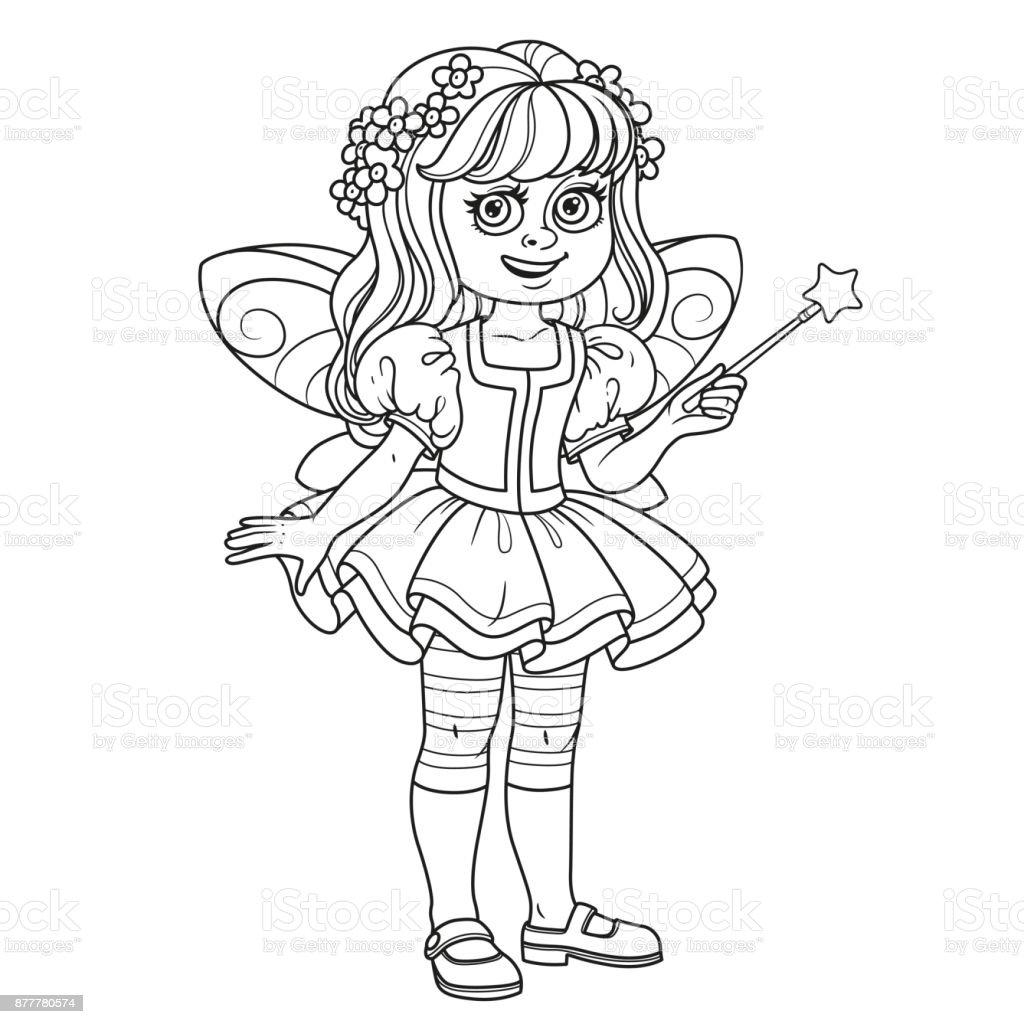 Süße Mädchen Im Märchen Kostüm Mit Einem Zauberstab Für Malvorlagen ...