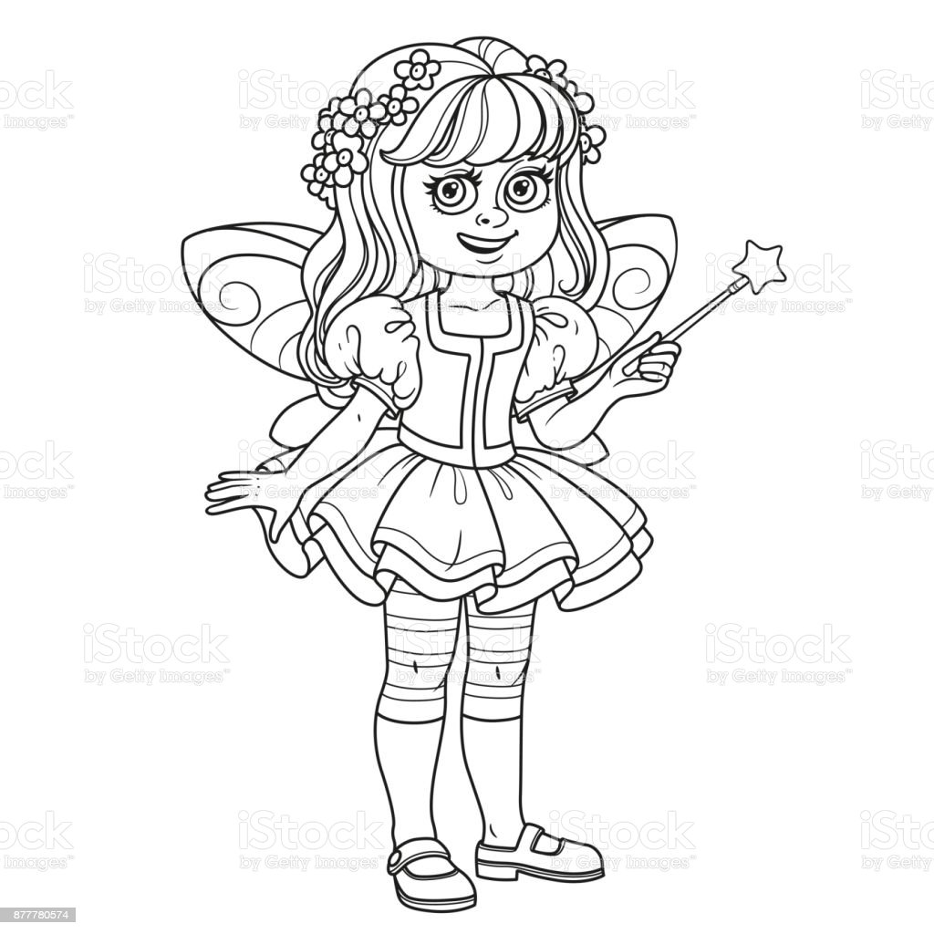 Cute girl in fairy costume  with a magic wand outlined for coloring page vector art illustration