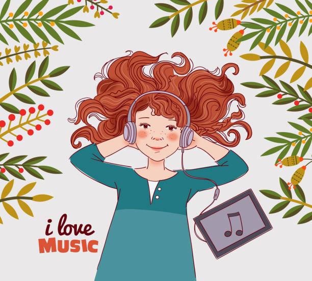 音楽を聴きながらヘッドフォンでかわいい女の子 - ゲーム ヘッドフォン点のイラスト素材/クリップアート素材/マンガ素材/アイコン素材