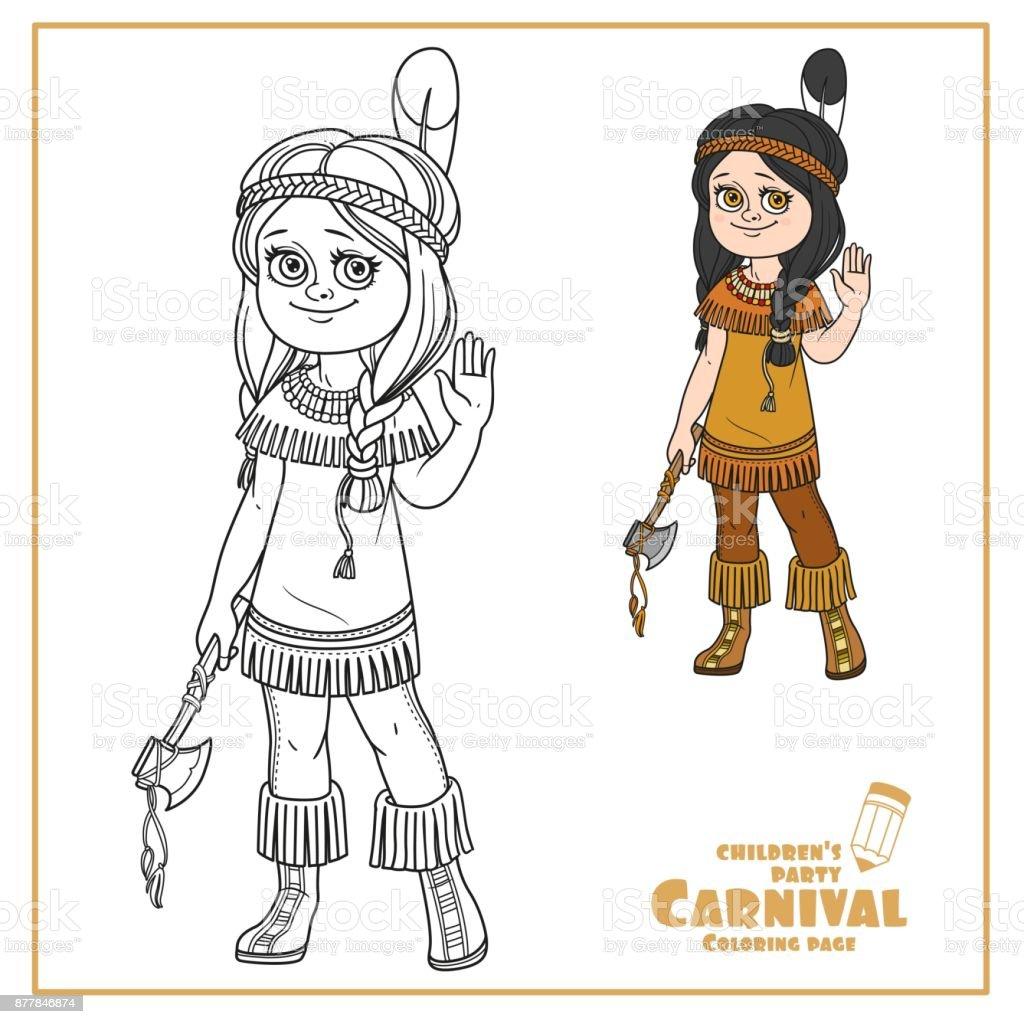 Niedliche Mädchen Indianerinnen Kostüm Farbe Und Skizziert Für ...