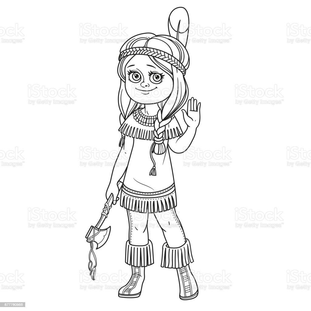 Niedliche Mädchen In Indisches Kostüm Für Malvorlagen Skizziert ...