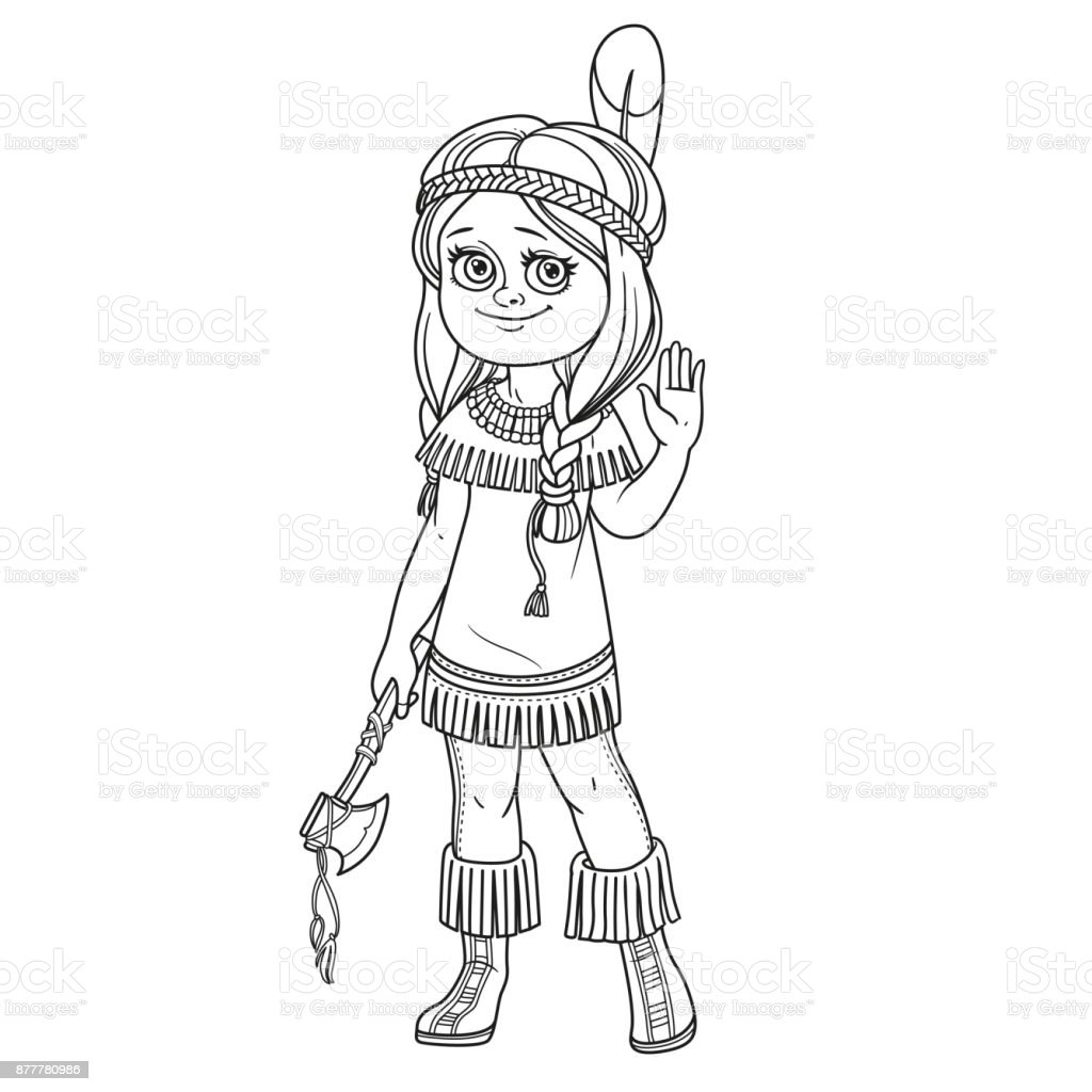 Cute girl in Indian costume outlined for coloring page vector art illustration