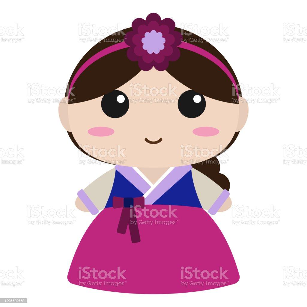 韓国の韓服でかわいい女の子 アジア大陸のベクターアート素材や画像