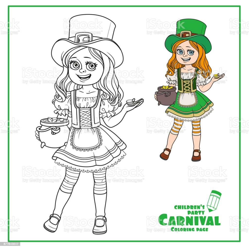 Cute girl  in leprechaun costume with a pot of gold color and outlined for coloring page vector art illustration