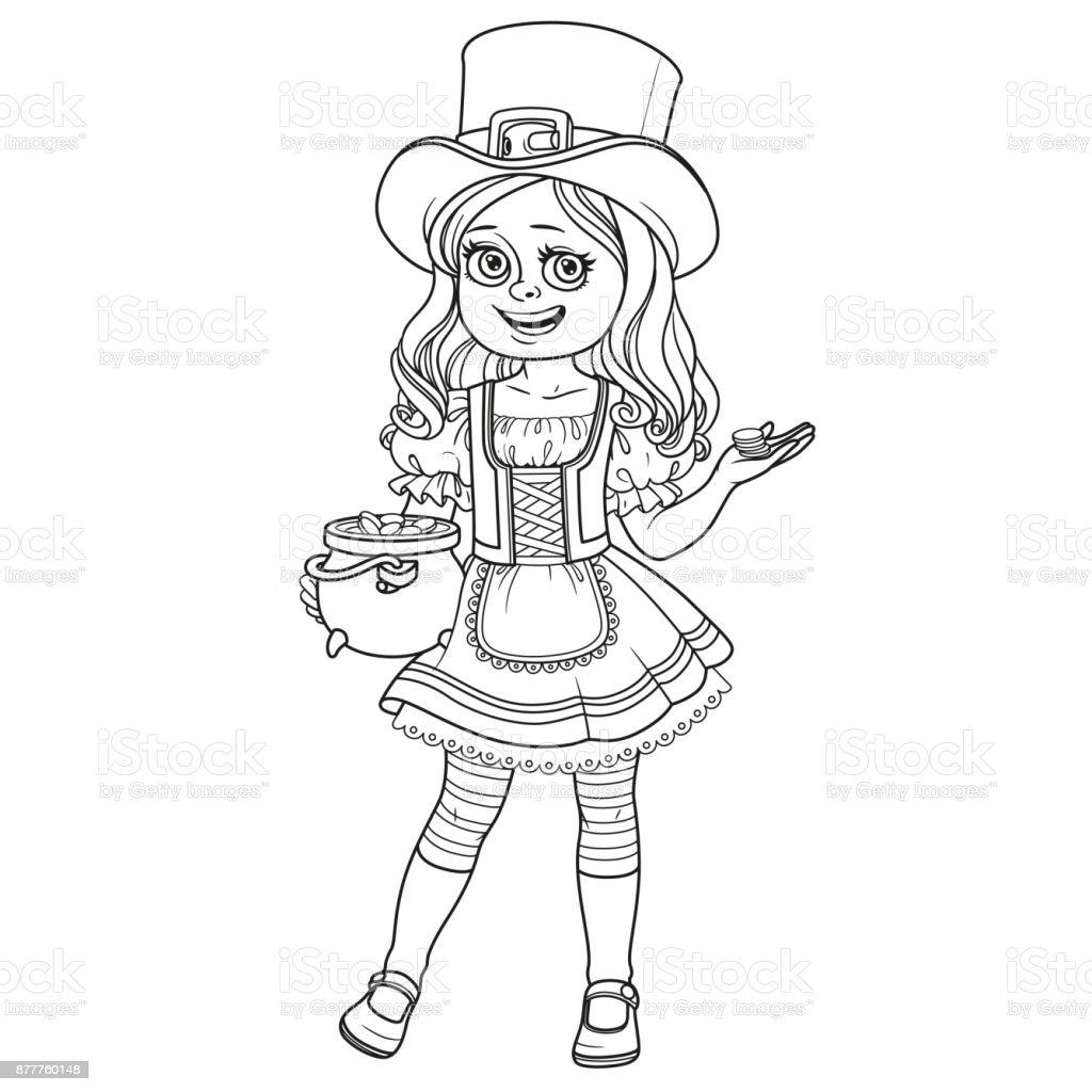 Coloriage Fille Bouclee.Jolie Fille En Costume De Lutin Avec Un Pot Dor Decrites