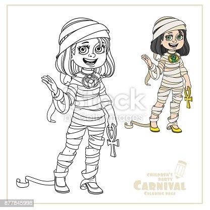 istock Linda chica en momia traje color y contorneado para colorear ...