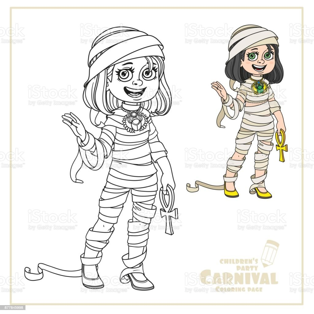 Cute girl in mummy costume color and outlined for coloring page vector art illustration