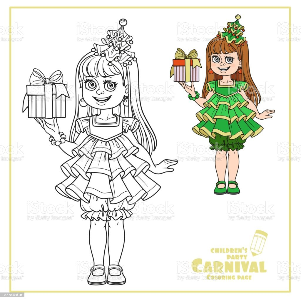 Cute girl in New Year tree dress with a gift in hand color and outlined for coloring page vector art illustration