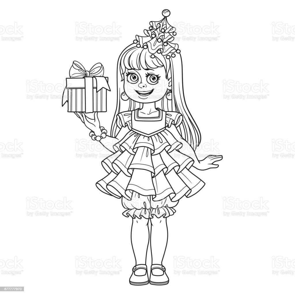 Ilustración de Linda Chica En árbol De Año Nuevo Vestido Con Regalo ...