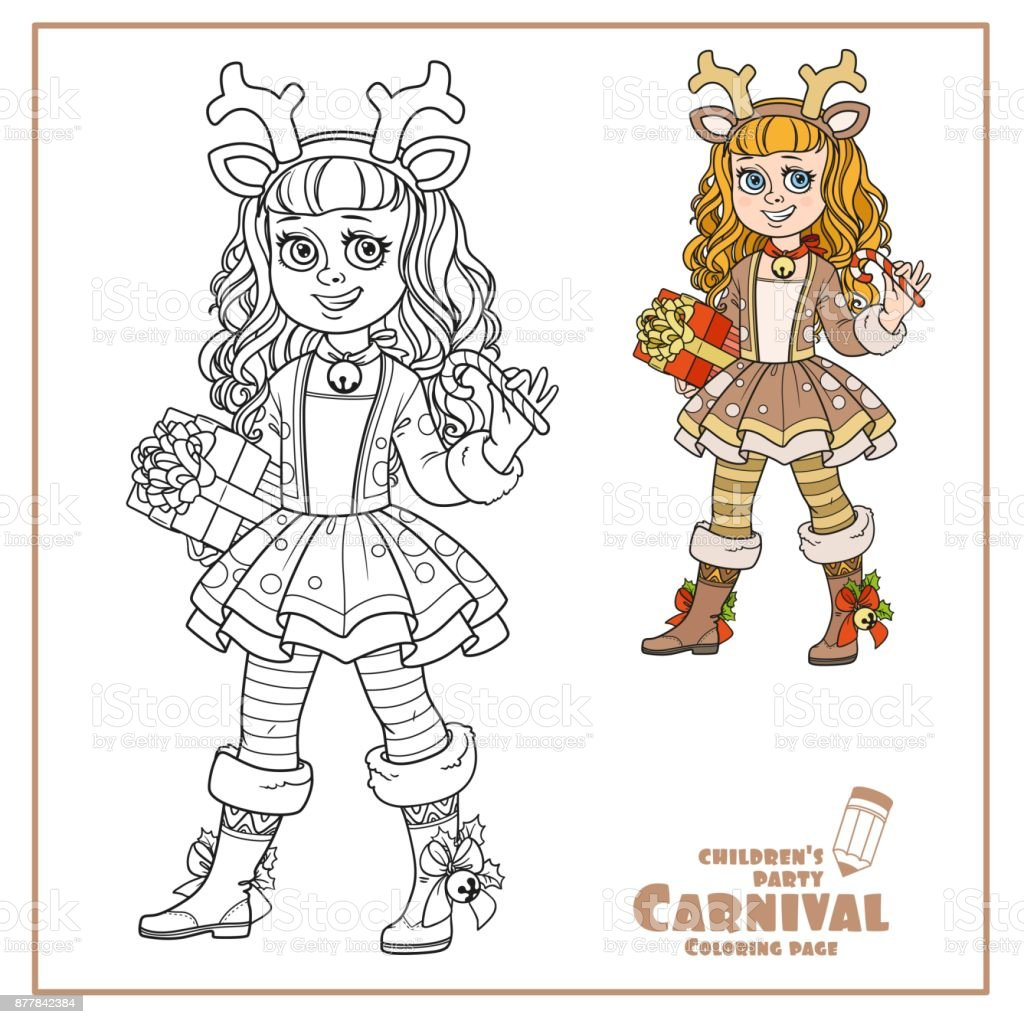 Cute girl in New Year's deer costume color and outlined for coloring page vector art illustration