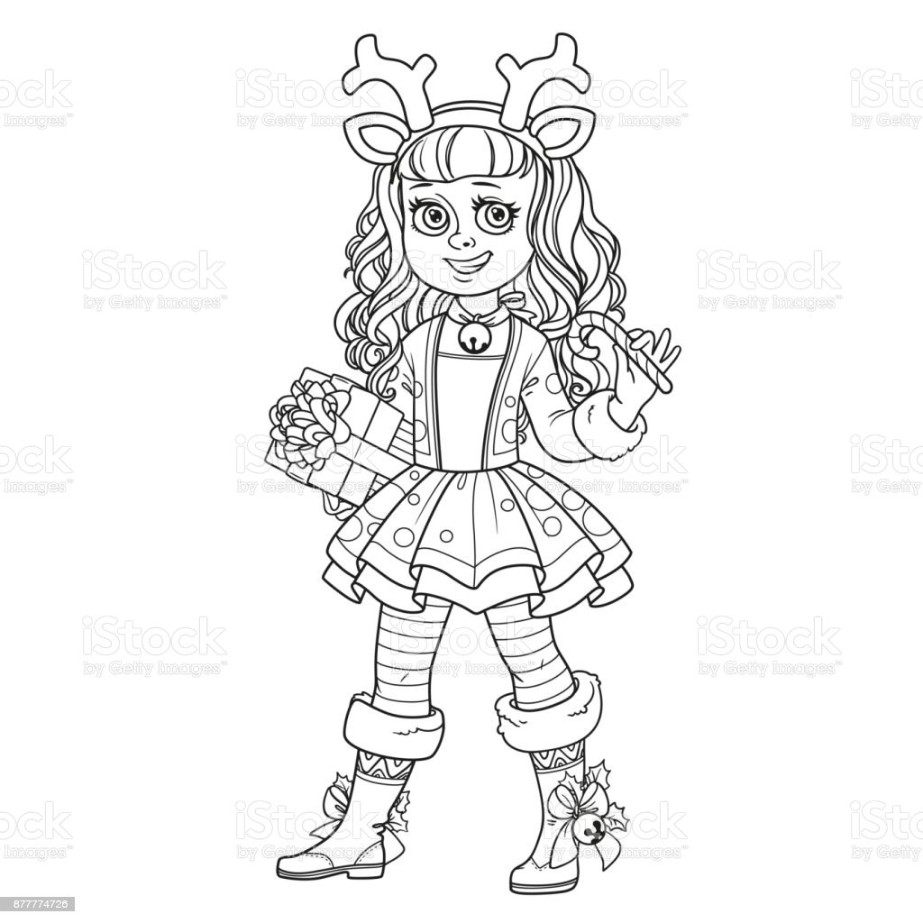 Cute girl in New Year's deer costume outlined for coloring page vector art illustration