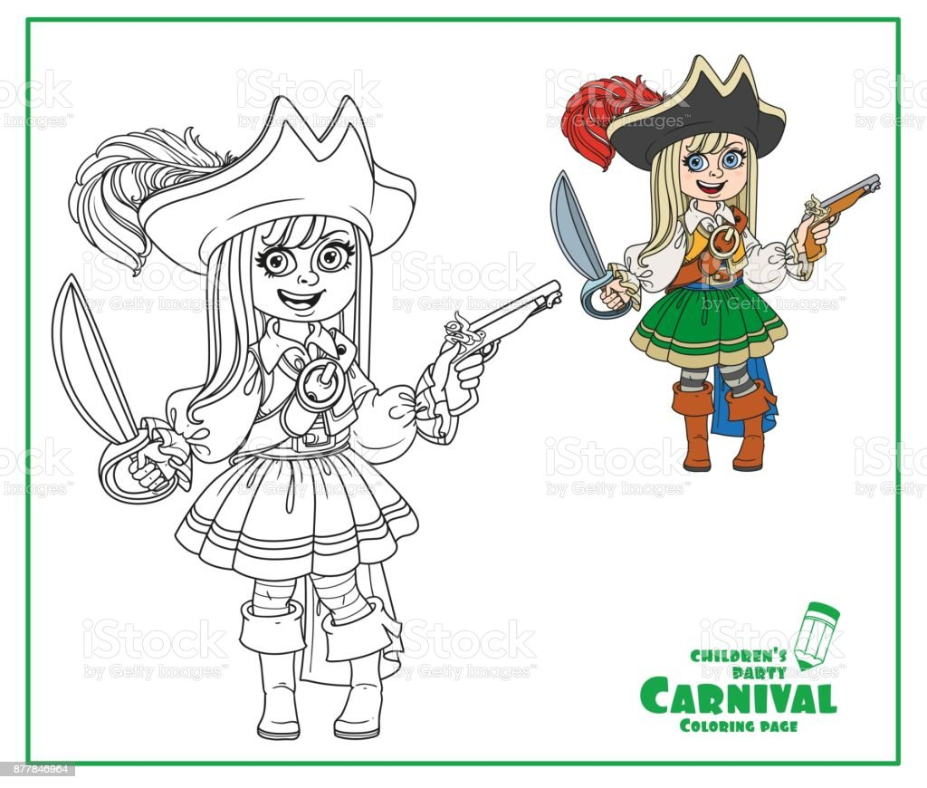 Cute girl in pirate costume color and outlined for coloring page vector art illustration