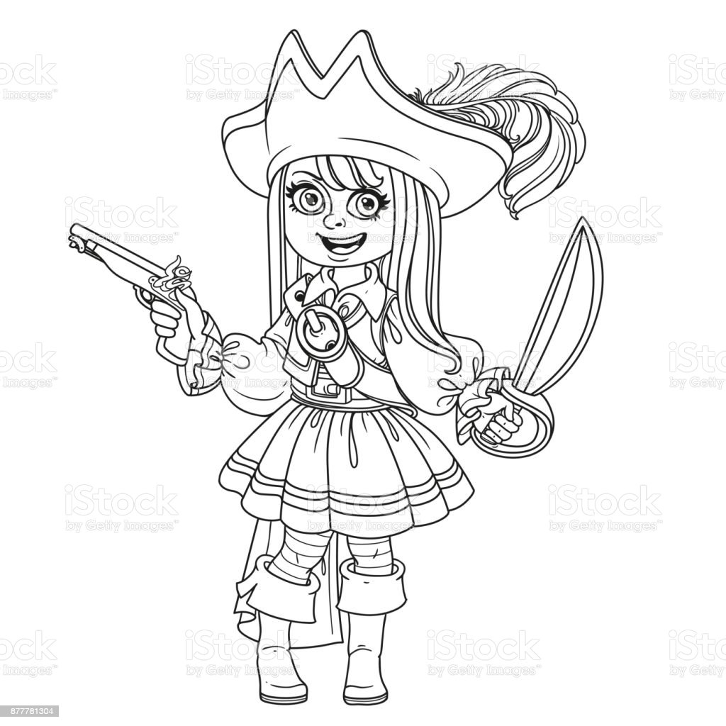 Cute girl in pirate costume outlined for coloring page vector art illustration