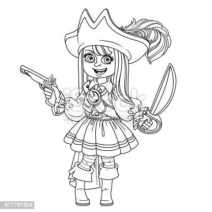 Ilustración de Linda Chica En Traje De Pirata Para Colorear Página y ...