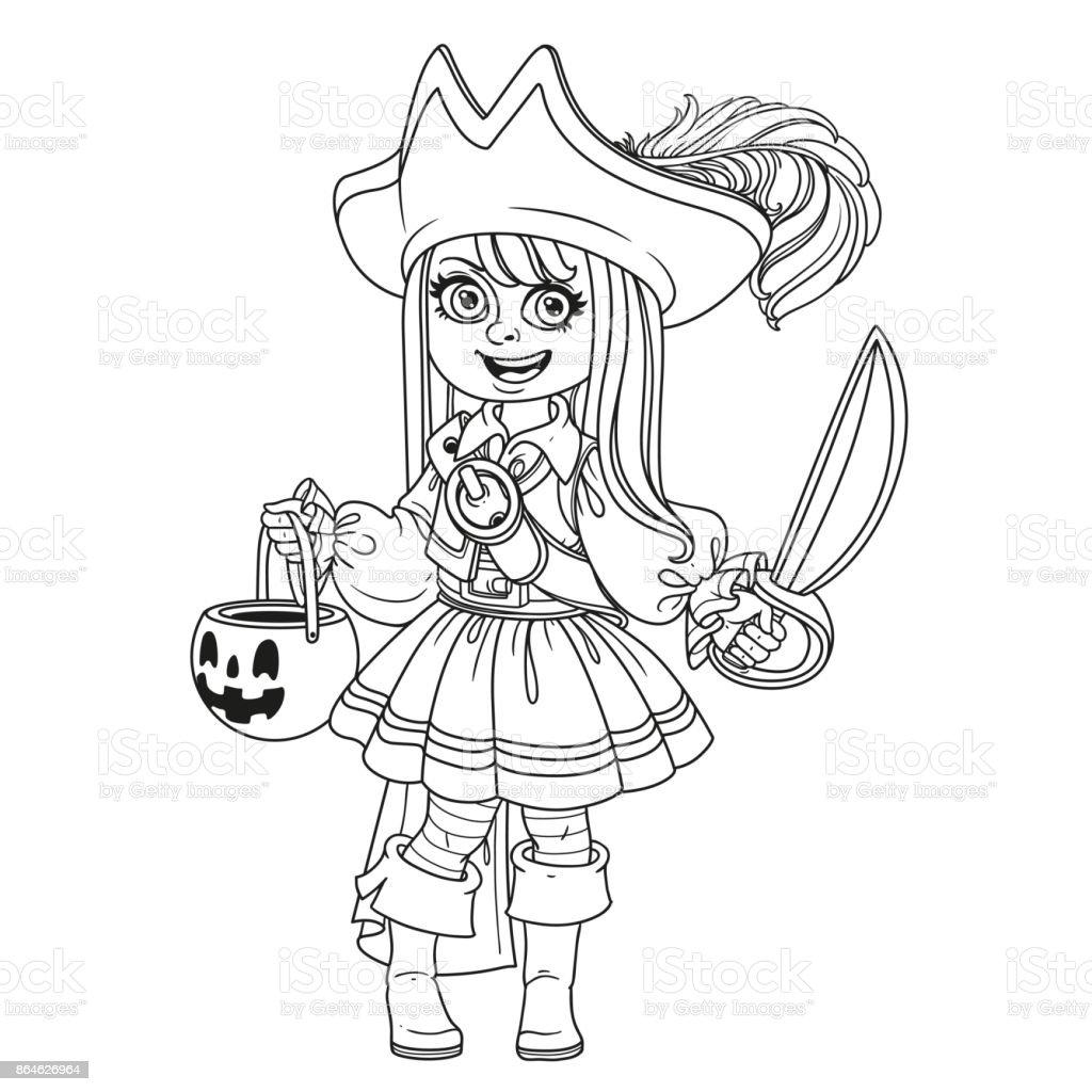 Niedliche Mädchen In Pirate Kostüm Mit Einem Kürbis Tasche Für ...