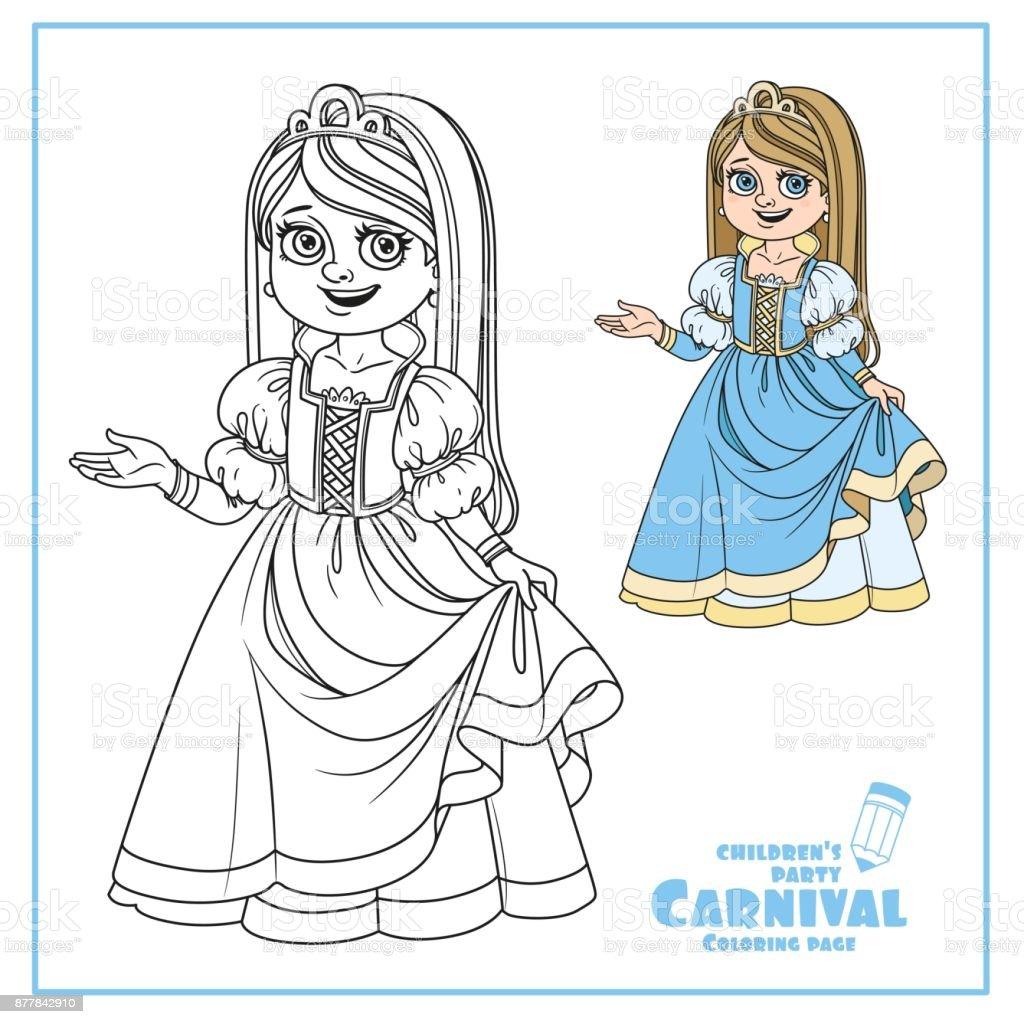 Niedliche Mädchen In Prinzessin Kostüm Farbe Und Skizziert Für ...