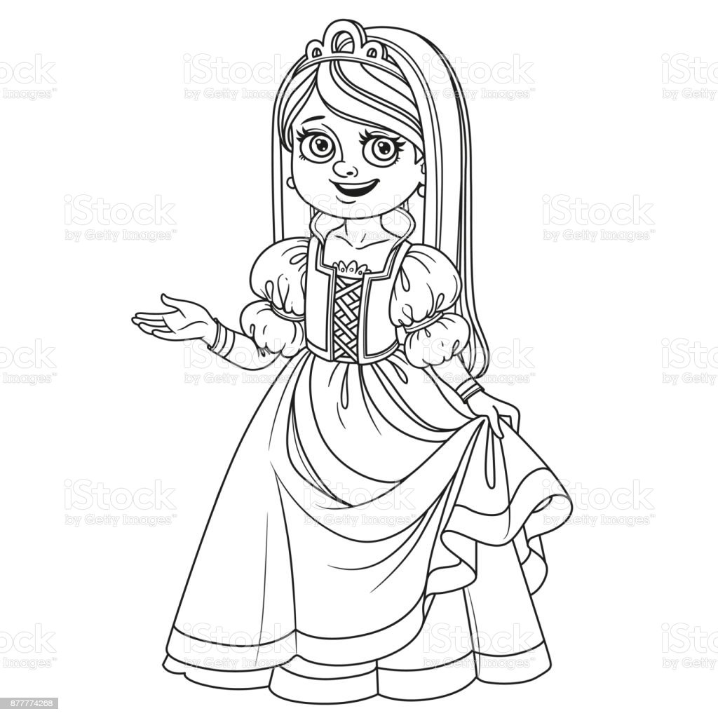 Cute girl in princess costume outlined for coloring page vector art illustration