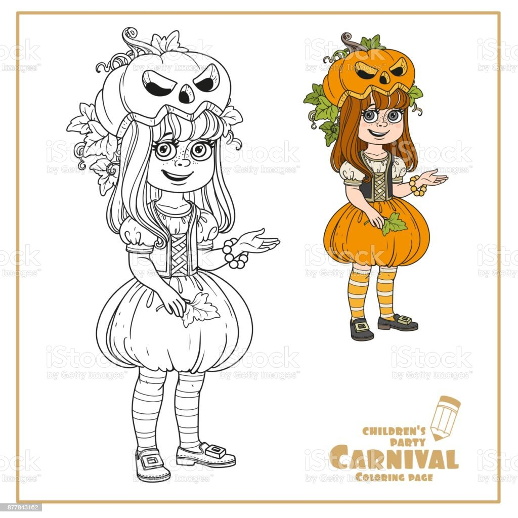 Cute girl in pumpkin costume color and outlined for coloring page vector art illustration