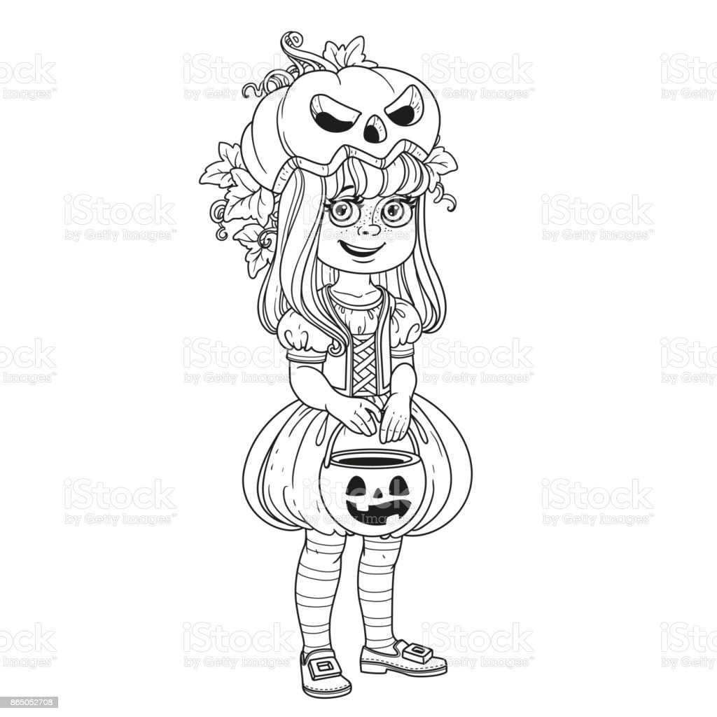 Cute Girl In Pumpkin Costume With A Pumpkin Bag For Sweets Trick Or ...