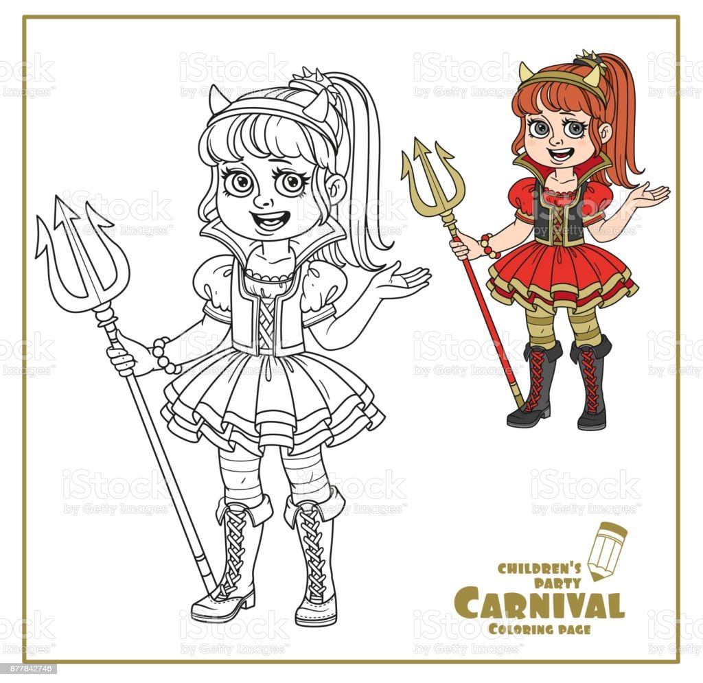 Cute Girl In Succubus Costume Color And Outlined For Coloring Page Royalty Free