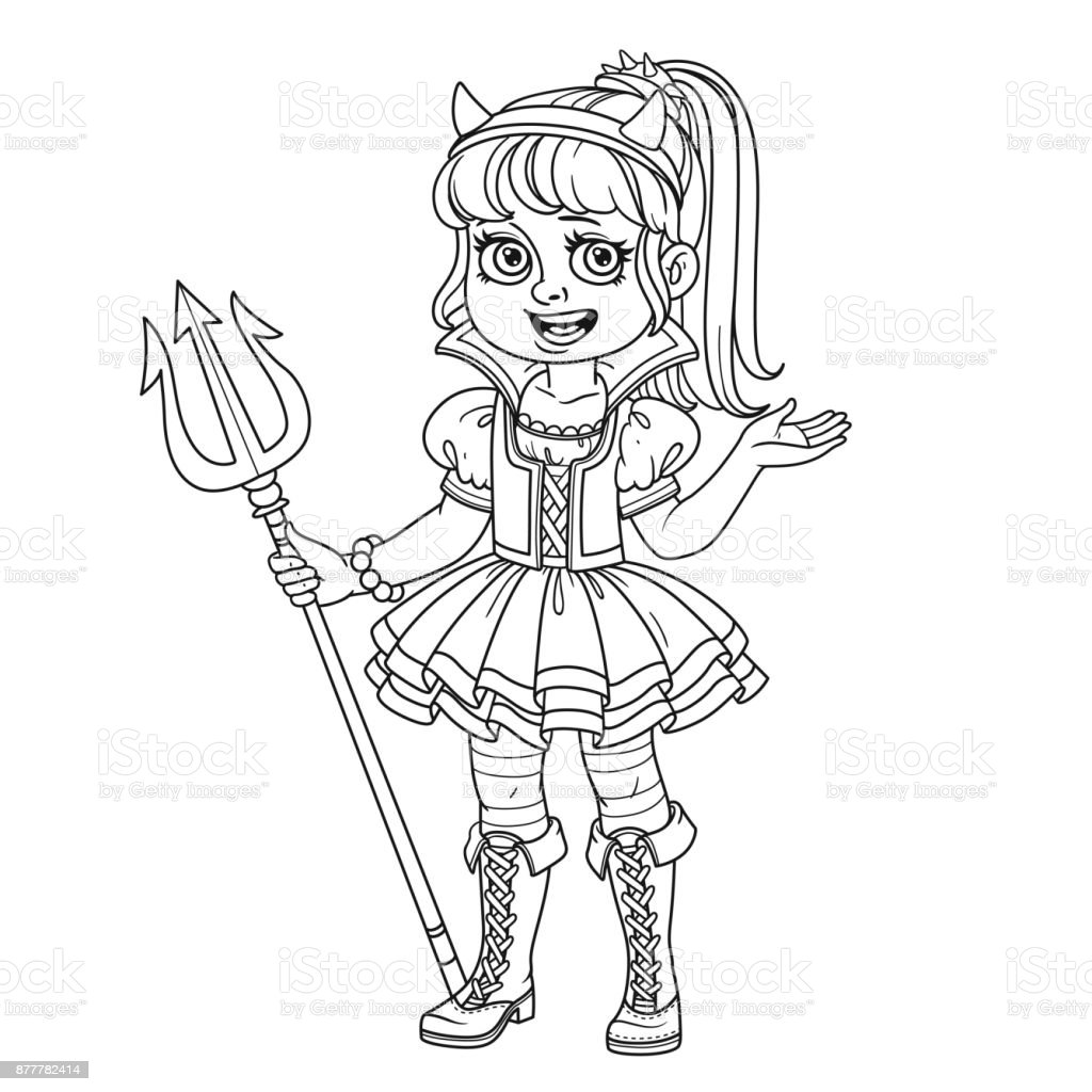 Cute girl in succubus costume outlined for coloring page vector art illustration
