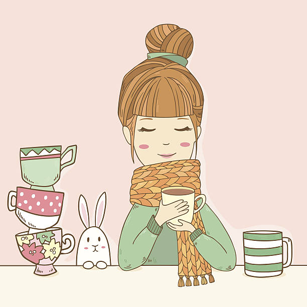 Cute girl in sweater drinks cup of tea vector art illustration