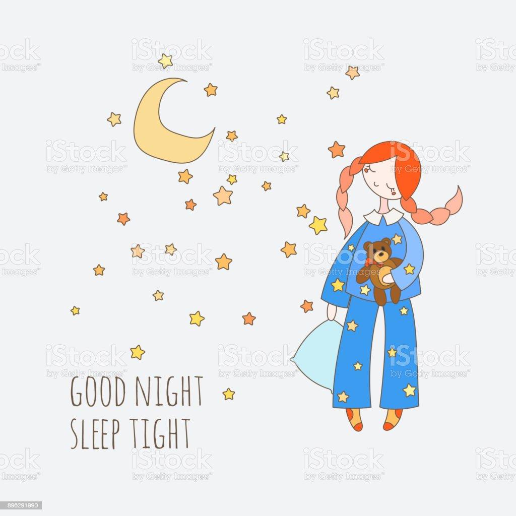 Ilustración de Linda Chica En La Ropa De Dormir Con Almohada Oso De ...