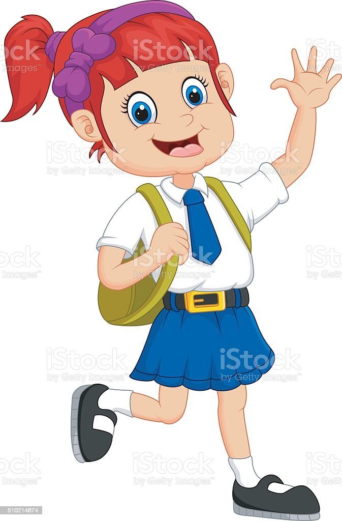 royalty free running school girl clip art vector images rh istockphoto com school boy girl clipart school boy girl clipart