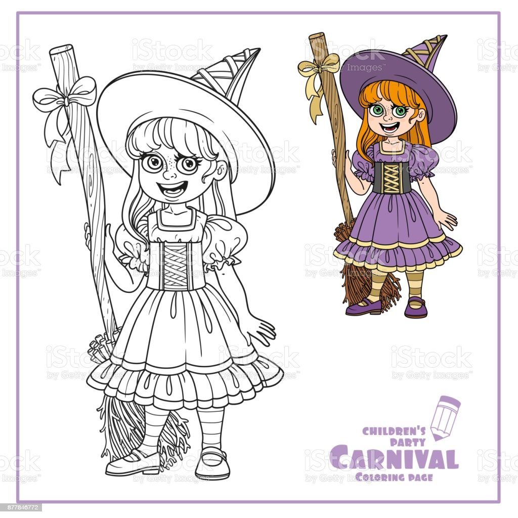 Cute girl in witch costume color and outlined for coloring page vector art illustration