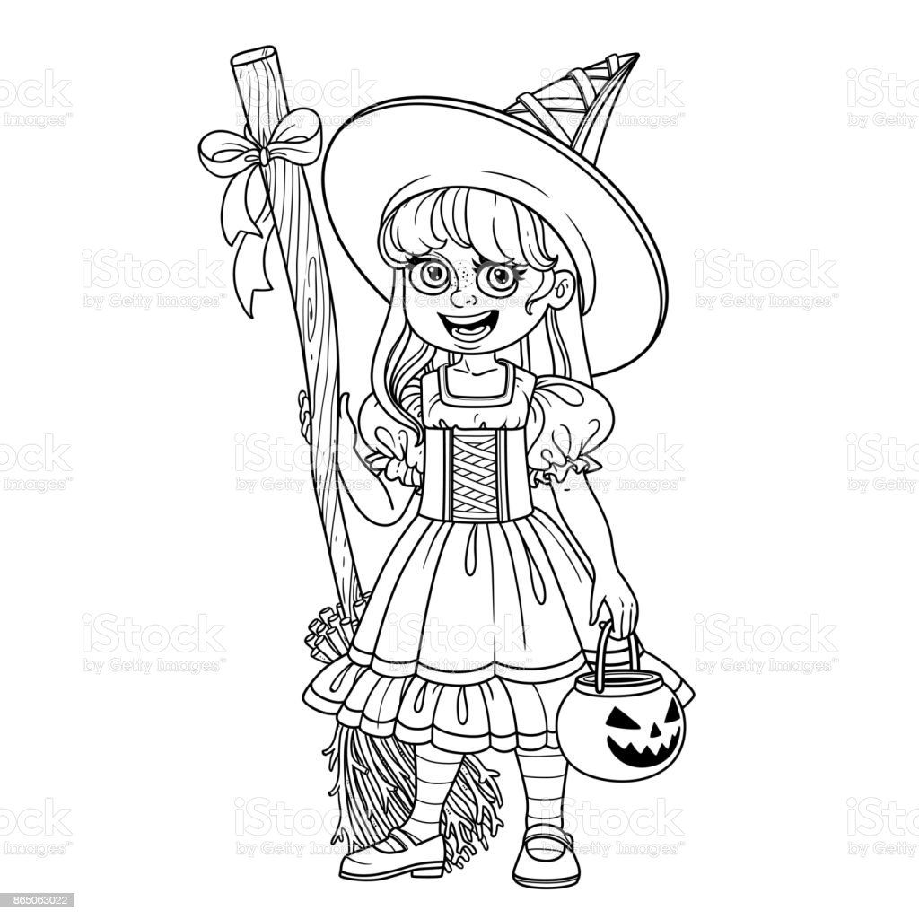 Cute Girl In Witch Costume Holding A Pumpkin Bag For Sweets Trick Or ...