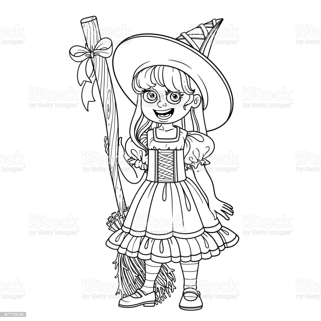 Cute girl in witch costume outlined for coloring page vector art illustration