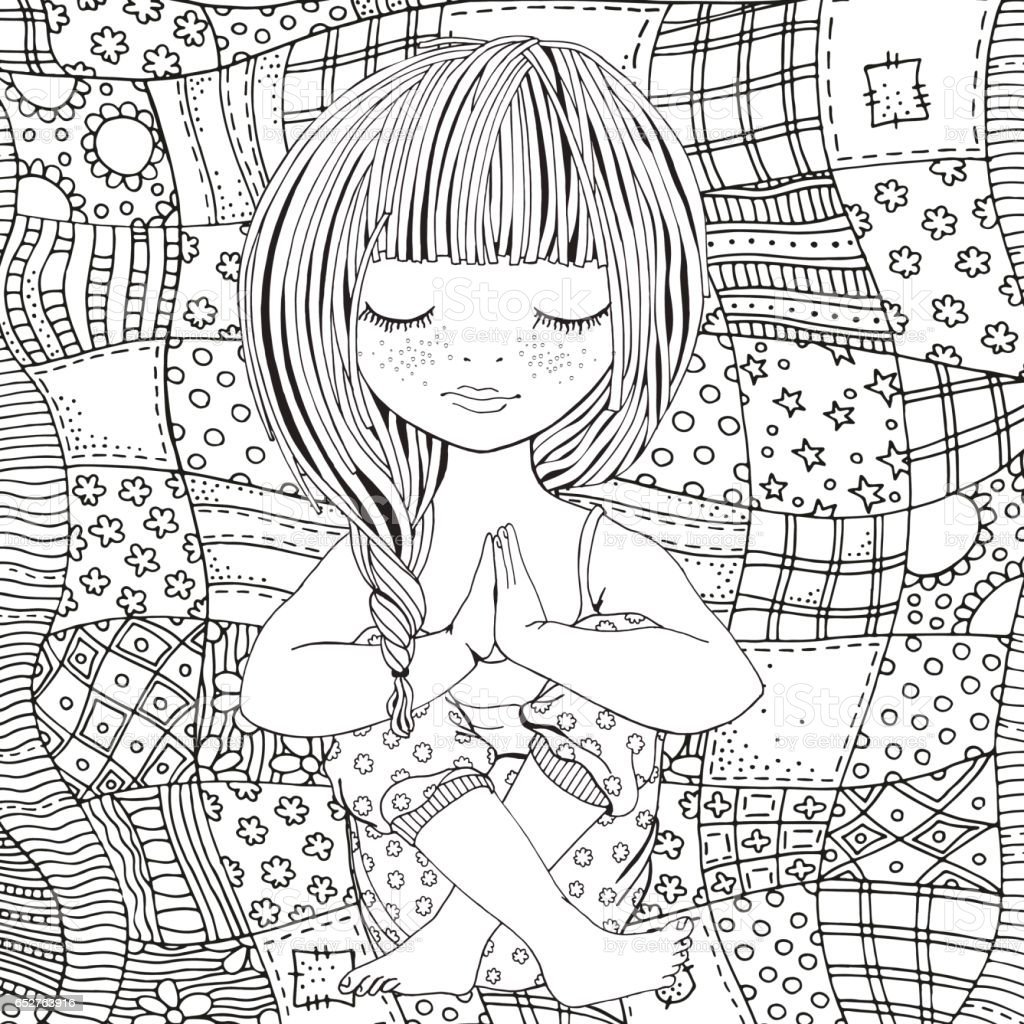 cute adult coloring pages - cute girl in yoga pose adult coloring page stock vector