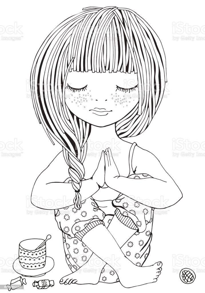 Ilustración de Linda Chica En Pose De Yoga Página De Adultos Para ...