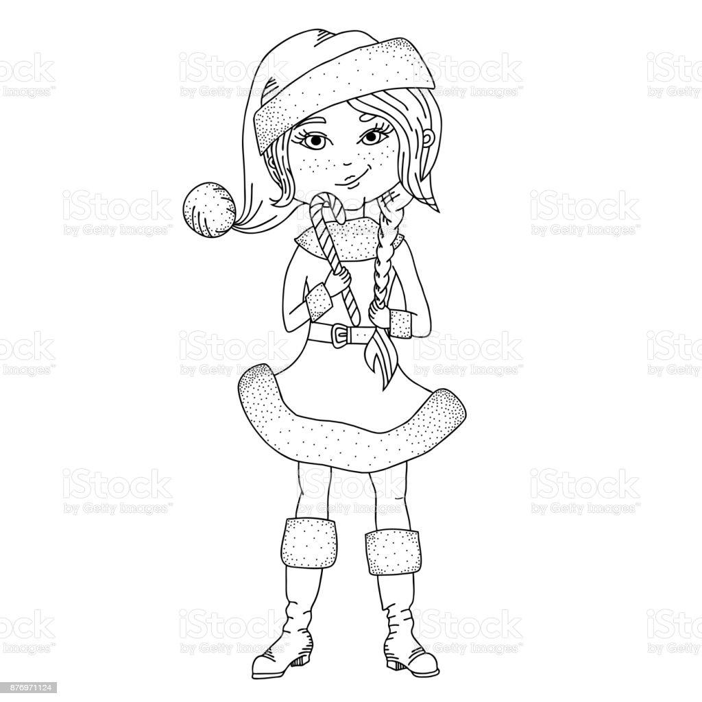 Cute girl kid in Santa costume black and white illustration vector art illustration