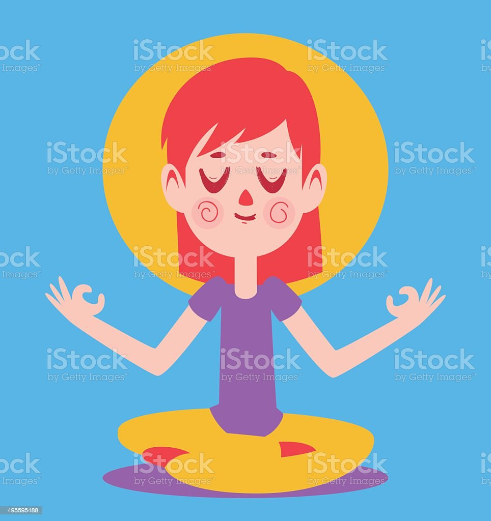 Cute Girl Meditating vector art illustration